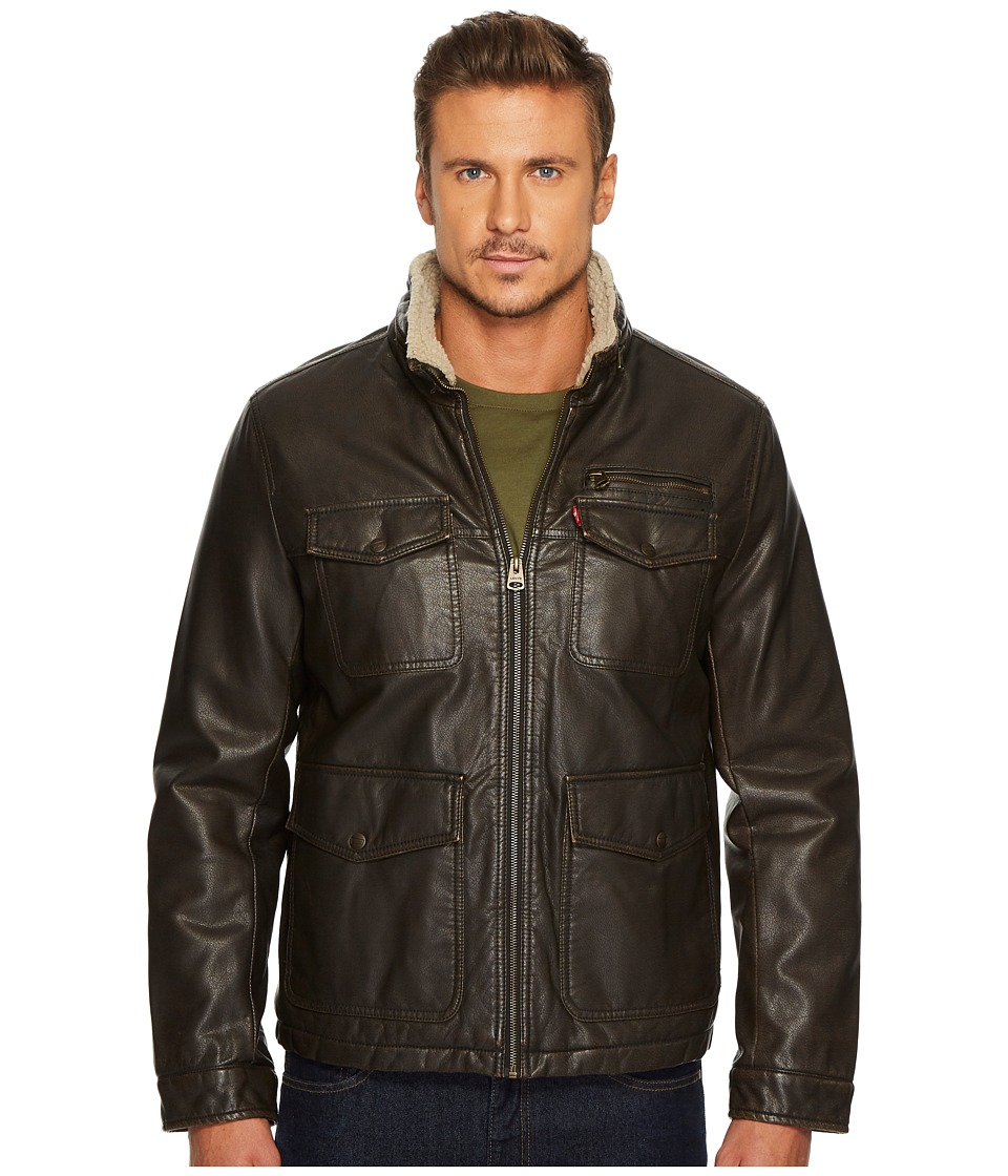 Levi's(r) - Faux Leather Four-Pocket Sherpa Lined Military Jacket (Dark Brown) Men's Coat