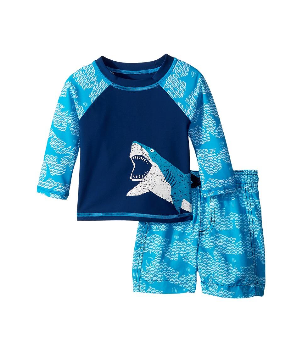Hatley Kids Shark Alley Mini Swim Trunks Rashguard Set (Infant) (Blue) Boy