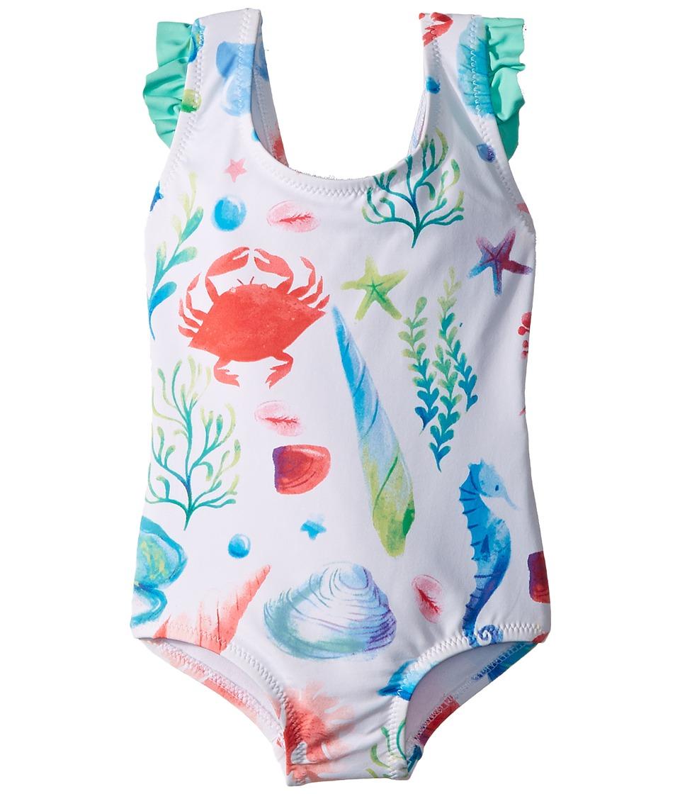 Hatley Kids Ocean Treasures Ruffle Swimsuit (Toddler/Little Kids/Big Kids) (White) Girl