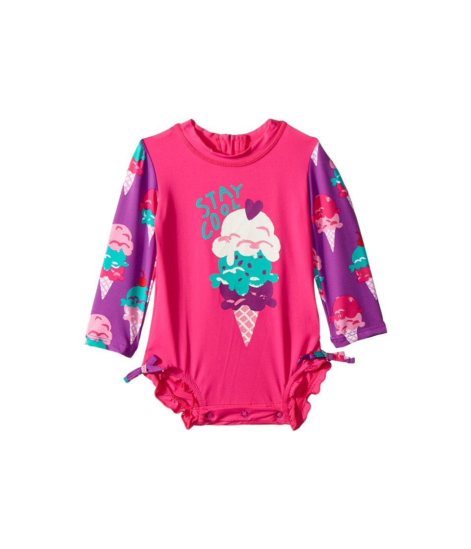 Hatley Kids Ice Cream Treats Mini Rashguard Swimsuit (Infant) (Pink) Girl