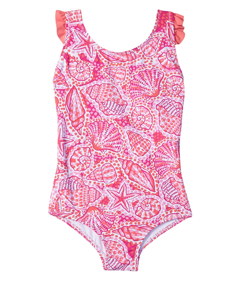 Hatley Kids Pink St. Barts One-Piece Ruffle Swimsuit (Toddler/Little Kids/Big Kids) (White) Girl