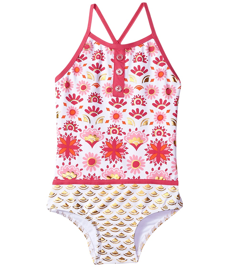 Hatley Kids Pink Gold Sarchi One-Piece Color Block Swimsuit (Toddler/Little Kids/Big Kids) (White) Girl