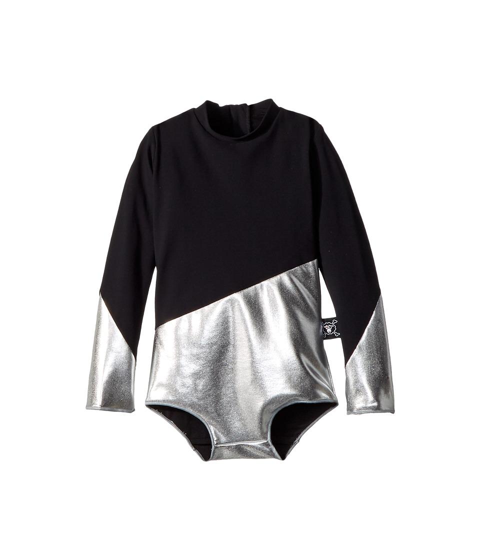 Nununu Half and Half Long Sleeve Swimsuit (Infant/Toddler/Little Kids) (Black/Silver) Girl