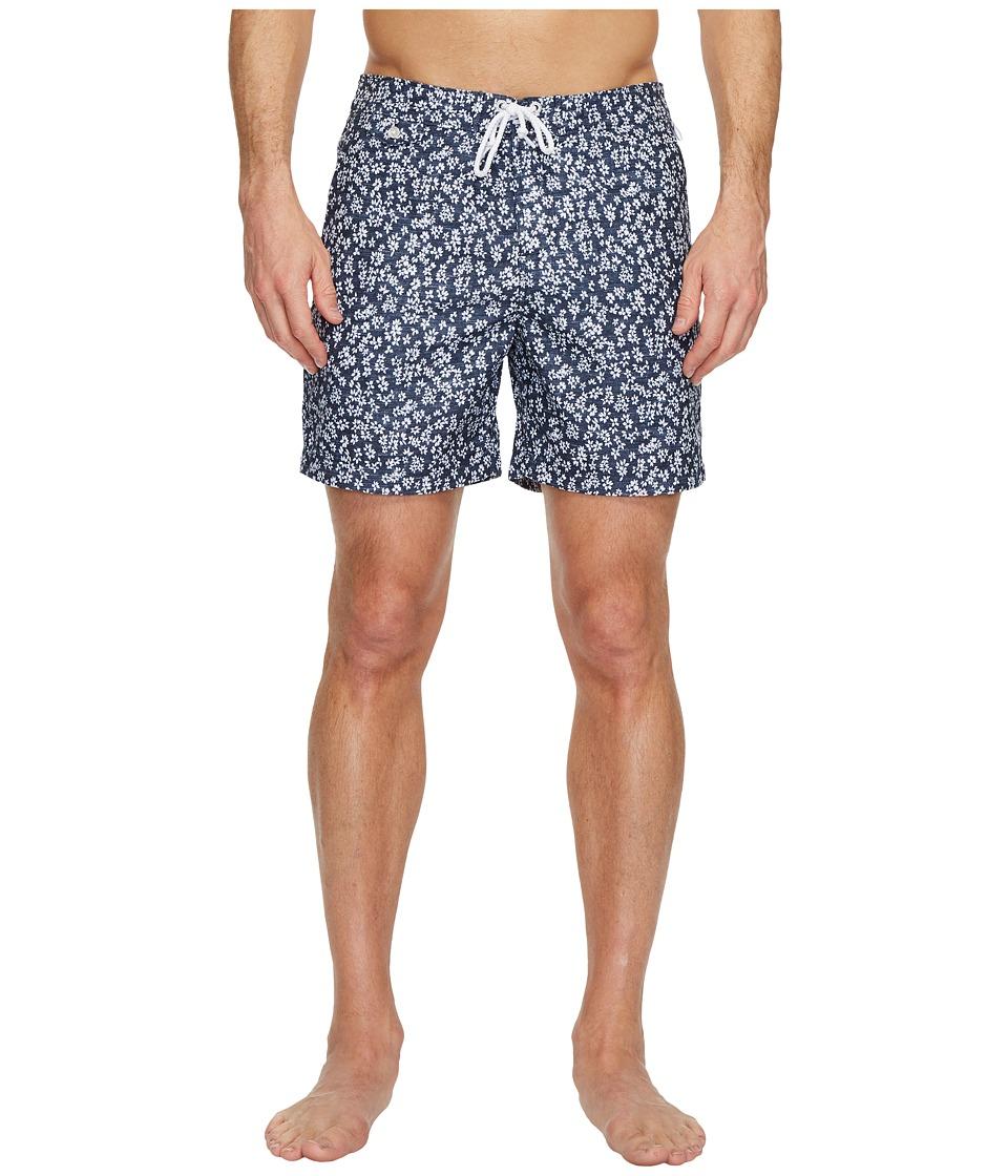 Original Penguin Floral Ditsy Fixed Volley Swim Shorts (Dark Sapphire) Men