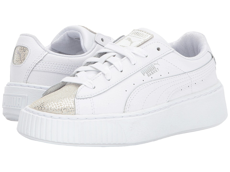 Puma Kids Basket Platform Glitz (Little Kid/Big Kid) (PUMA White) Kids Shoes