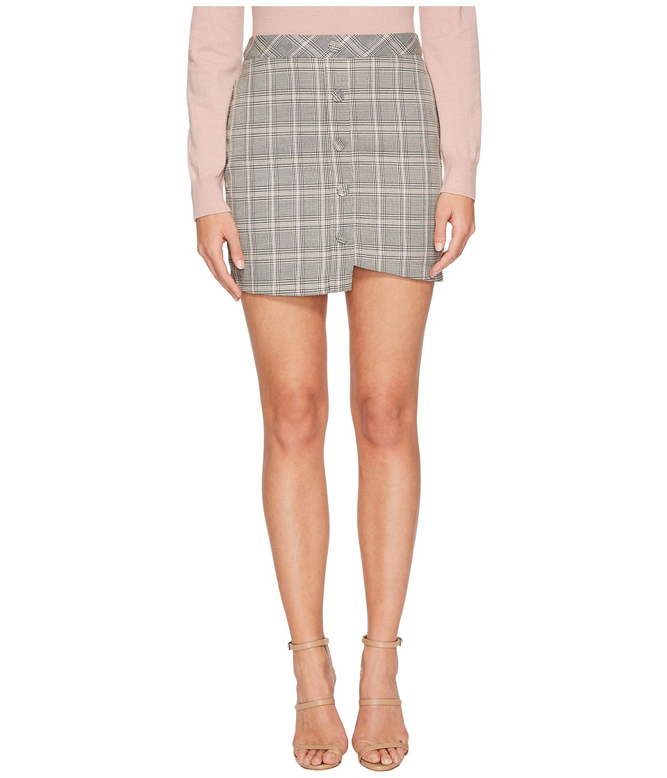 J.O.A. Printed Asymmetric Mini Skirt (Grey Plaid) Women