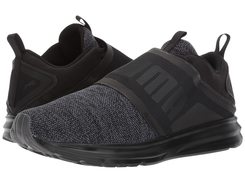 PUMA - Enzo Strap Knit (Puma Black/Asphalt) Men's Shoes