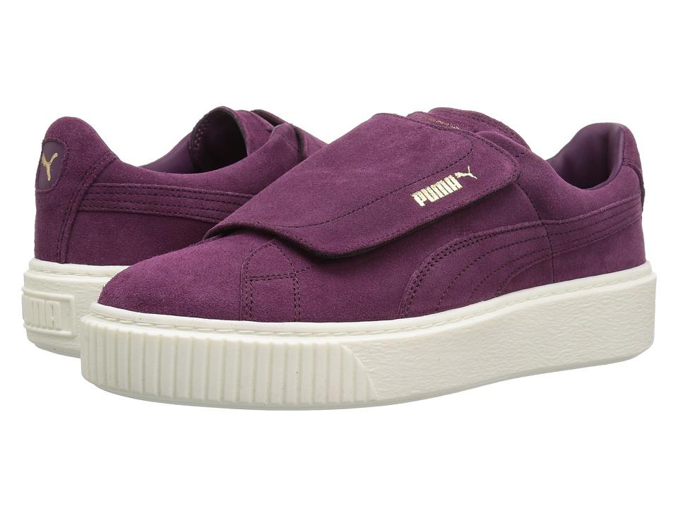 PUMA - Suede Platform Strap (Dark Purple/Dark Purple/Marshmallow) Women's Shoes