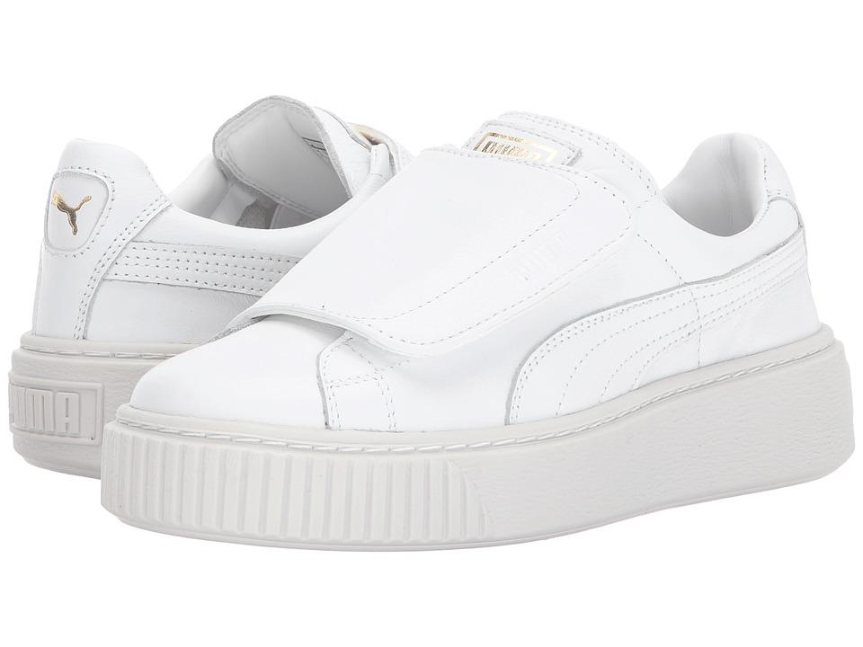 PUMA - Basket Platform Strap (Puma White/Puma White) Women's Shoes