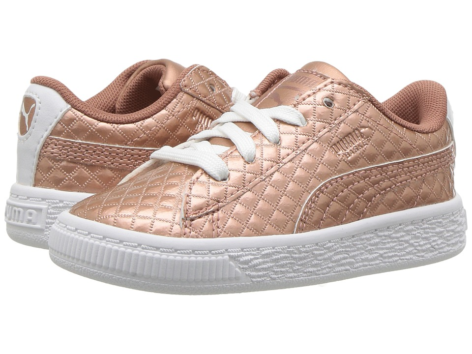 Puma Kids - Basket Metallic Emboss (Toddler) (Copper Rose/Puma White) Kid's Shoes