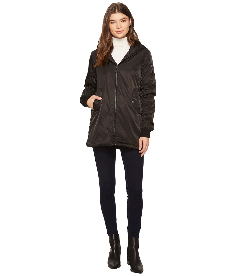 Steve Madden - Long Bomber Jacket (Black) Women's Coat