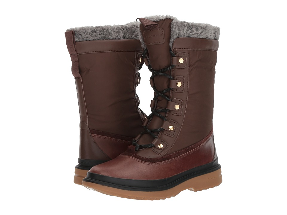 Cole Haan Millbridge Lace-Up Boot Waterproof (Chestnut Leather Waterproof/Gray Pinstripe Faux Shearling) Women