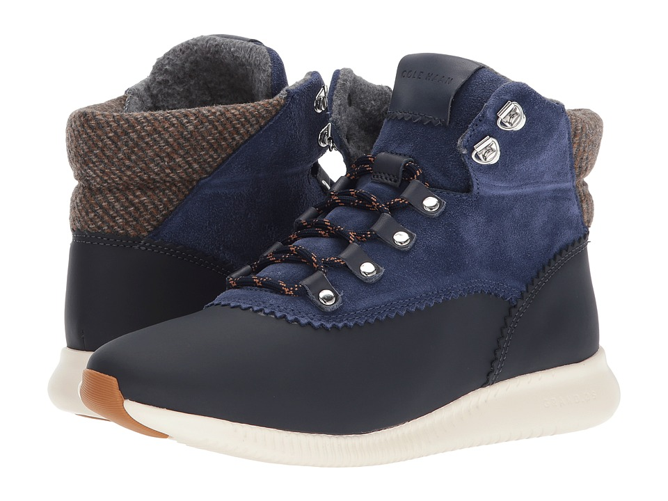 Cole Haan Studiogrand Hiker Update Waterproof (Marine Blue Leather Suede/Brown Gray Wool/Ivory) Women
