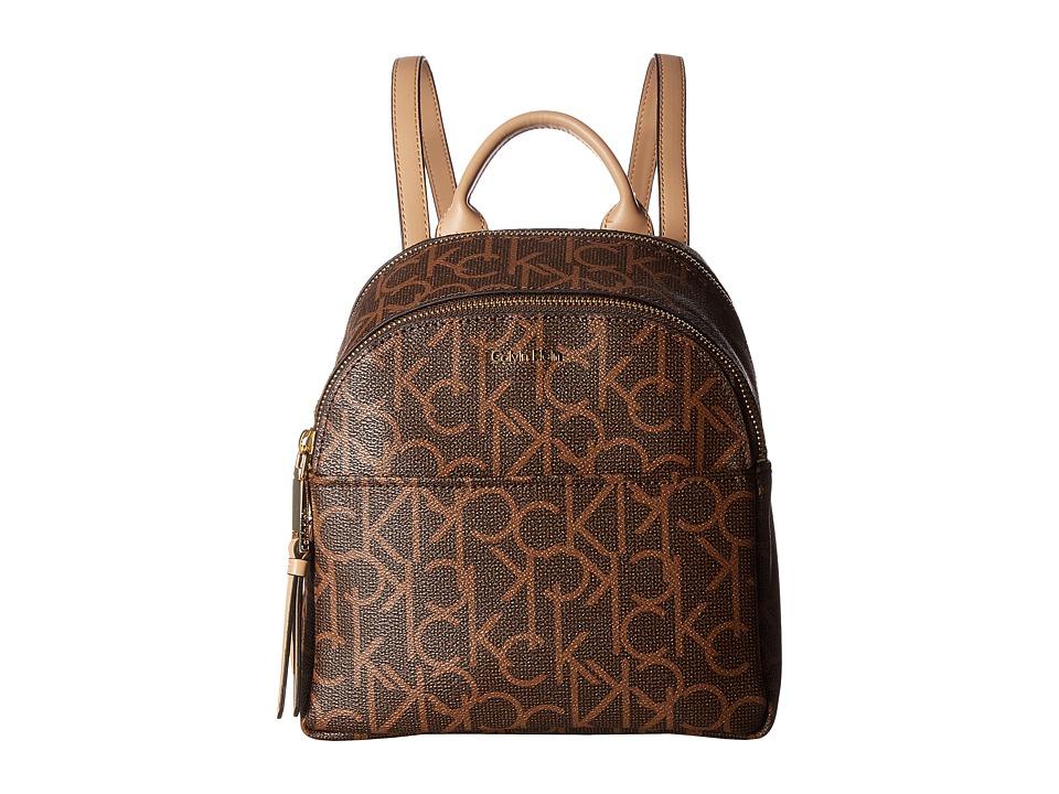 Calvin Klein - Monogram Backpack (Dot Brown/Khaki) Backpack Bags