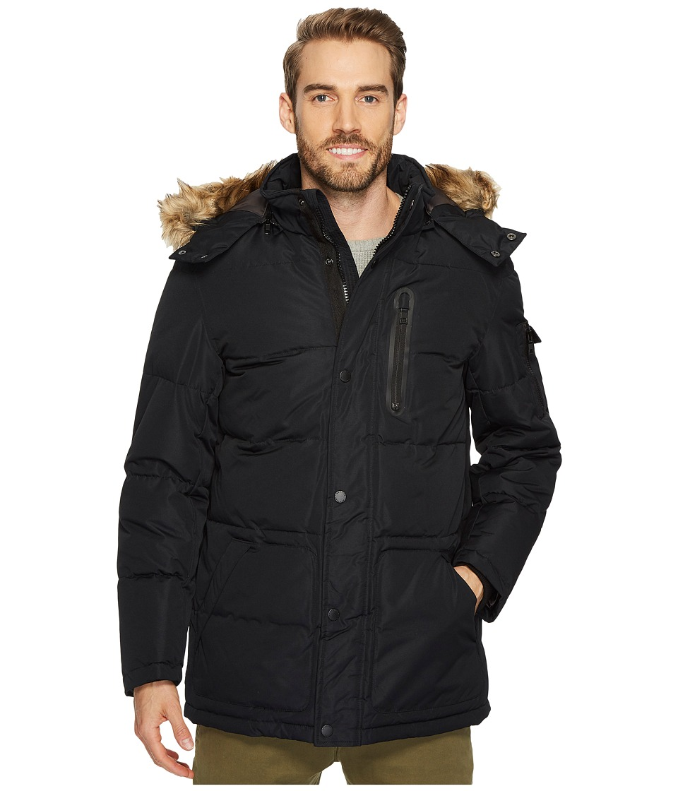 Nautica - Poly Hooded Parka (Black) Men's Coat