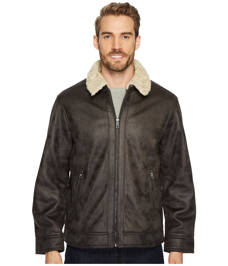 Nautica - Faux Shearling Open Bottom Coat (Dark Brown) Men's Coat