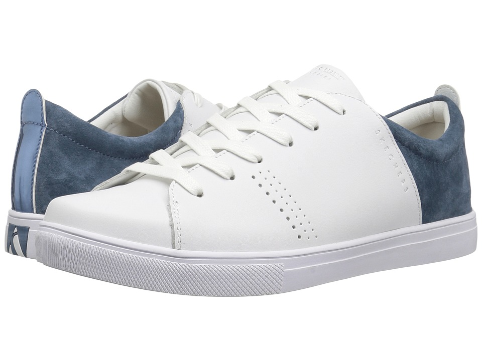 SKECHERS Street - Moda - Clean Street (White Navy) Women's Shoes