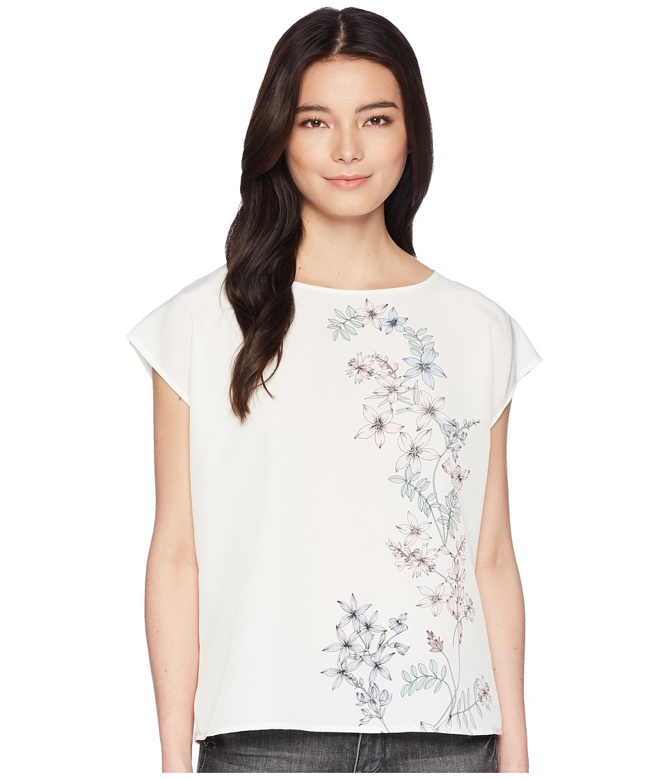 Vince Camuto Specialty Size Petite Extend Shoulder Botanical Floral Print Blouse (New Ivory) Women
