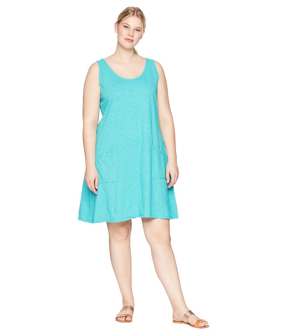 Extra Fresh by Fresh Produce Plus Size Pinstripe Drape Dress (Caribbean Green) Women