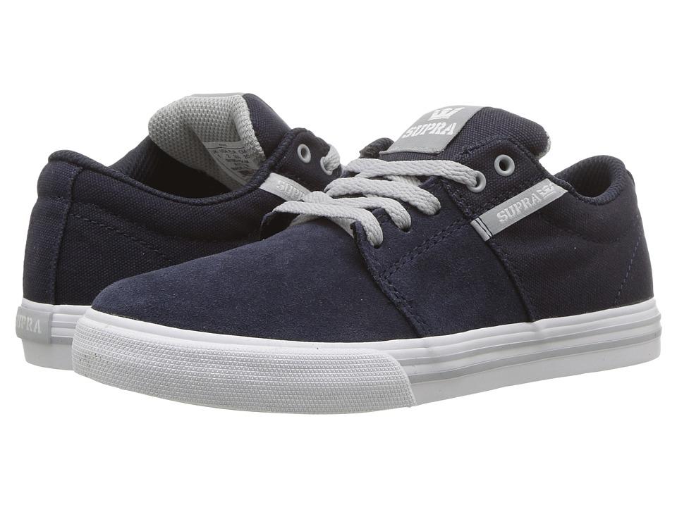 Supra Kids Stacks Vulc II (Little Kid/Big Kid) (Navy/Light Grey/White) Boys Shoes