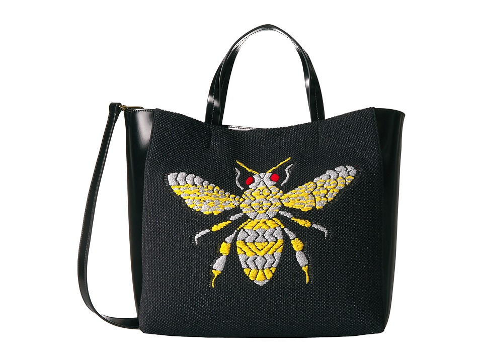 Frances Valentine - Large Bee Embroidery Flat Tote w/ Top-Handle (Black/Multi) Handbags