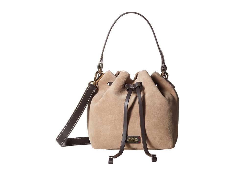 Frances Valentine - Small Suede Calf Trim Bucket Bag w/ Drawstring (Stone) Handbags