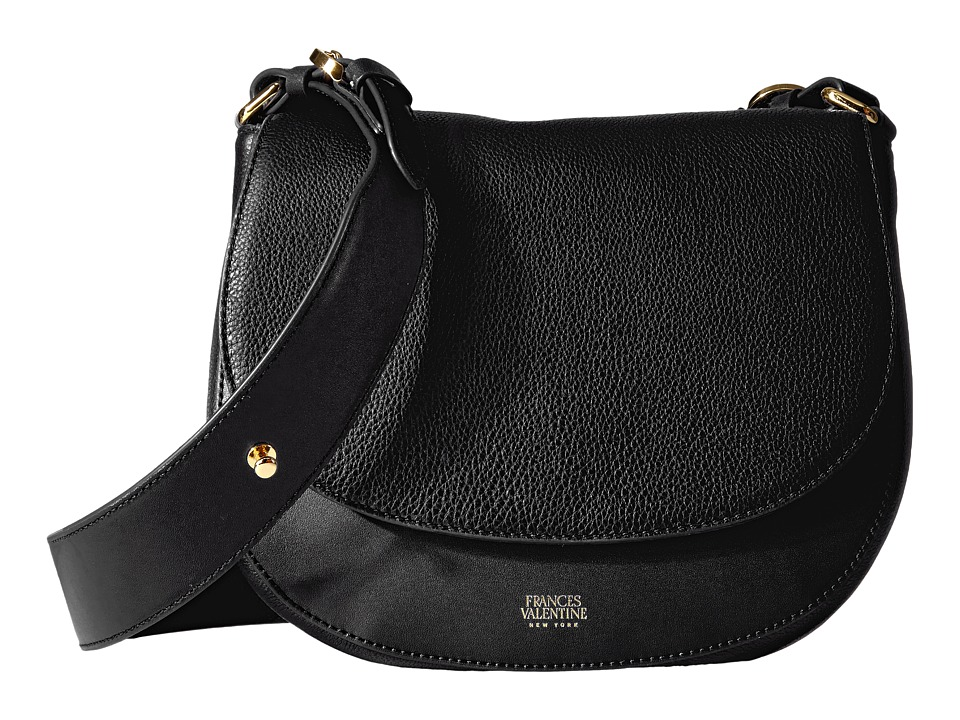 Frances Valentine - Small Shoulder Tumbled Leather Satchel (Black) Satchel Handbags