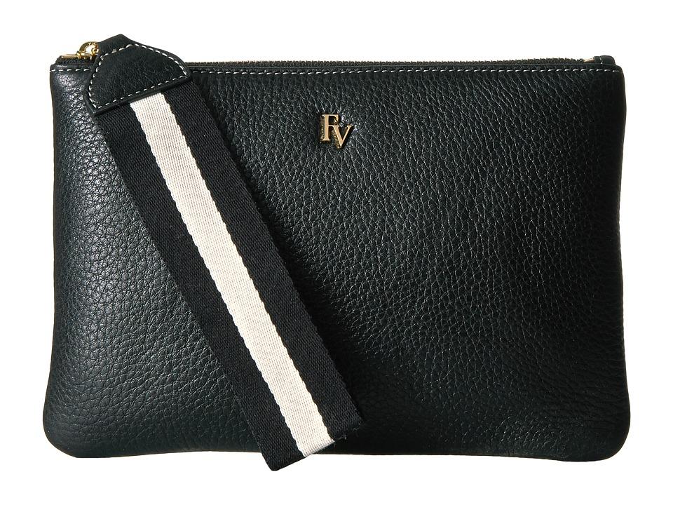 Frances Valentine - Tumbled Leather Wristlet w/ Webbing (Black) Wristlet Handbags