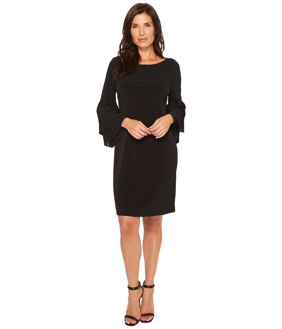 Ivanka Trump Pleated Sleeve Matte Jersey Dress (Black/Black) Women