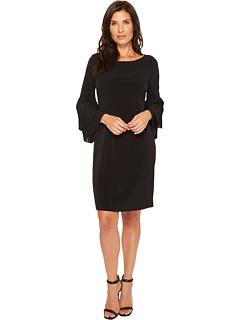 Pleated Sleeve Matte Jersey Dress by Ivanka Trump