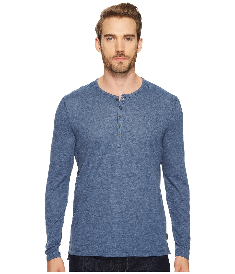 John Varvatos Star U.S.A. - Long Sleeve Henley w/ Coverstitch Detail K3459T4B (Blue Heather) Men's Long Sleeve Pullover