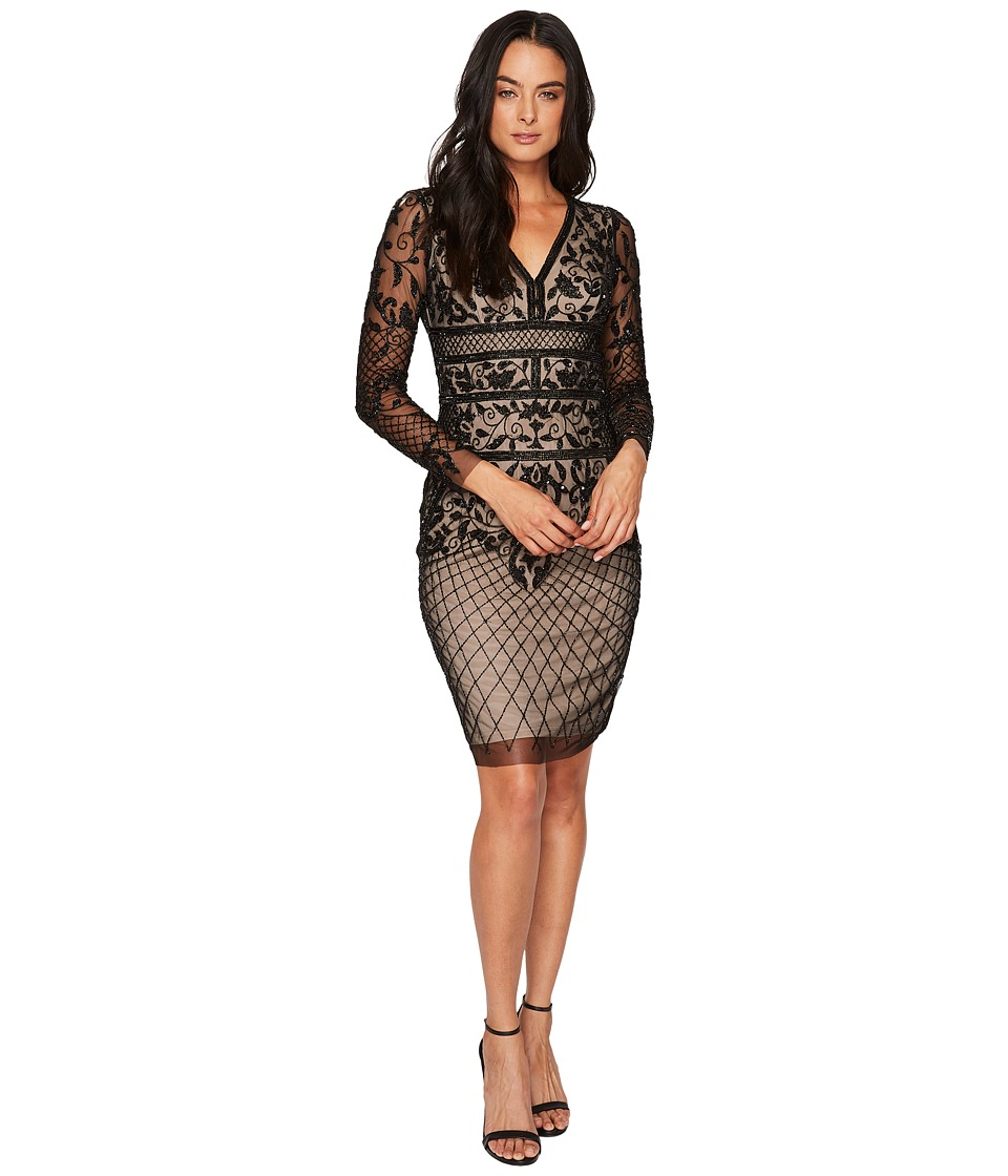 Adrianna Papell Long Sleeve Fully Beaded Cocktail Dress with Nude Lining (Black/Nude) Women