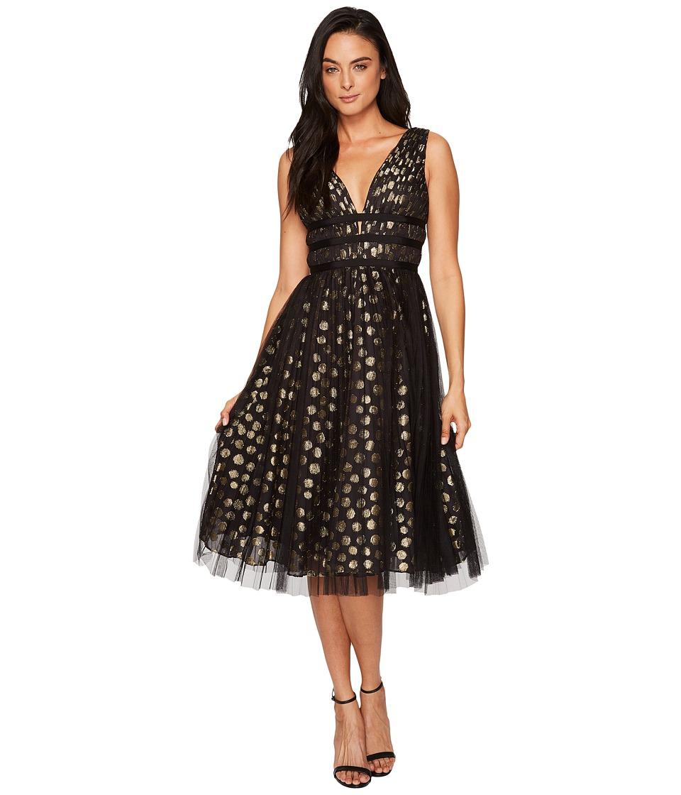 Adrianna Papell Clip Dot Cocktail Dress (Gold/Black) Women