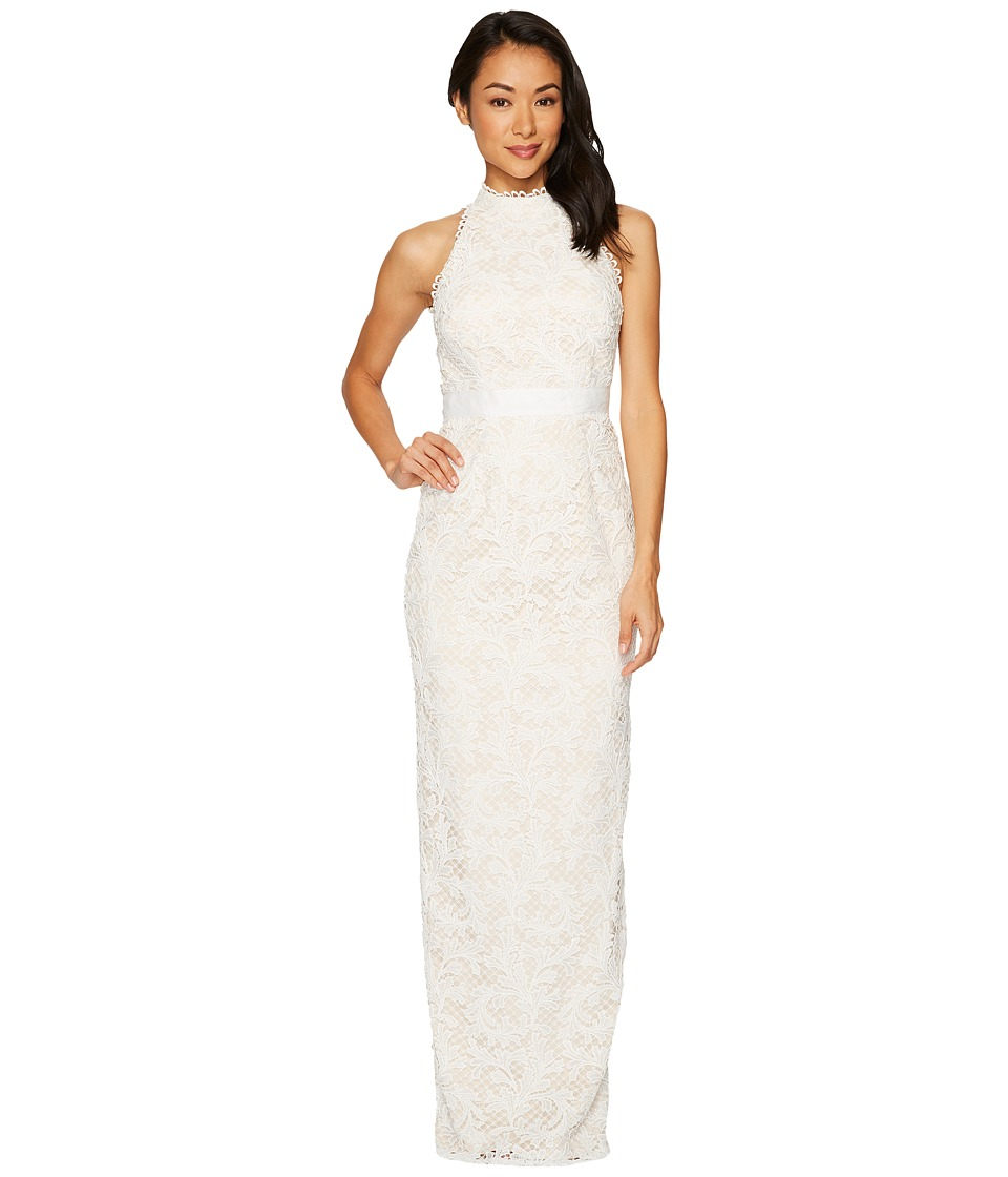 Adrianna Papell Lace Halter Wedding Gown (Ivory) Women