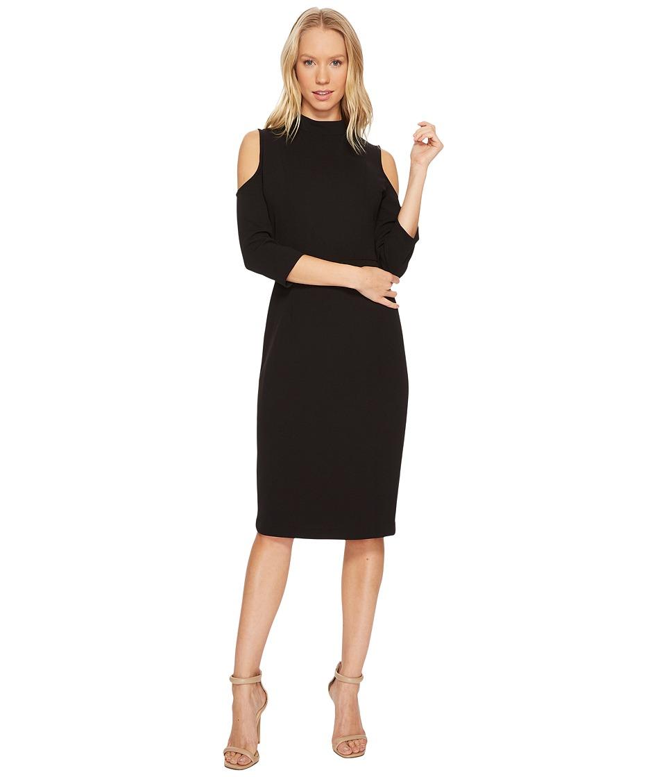 Adrianna Papell Cold Shoulder Mock Neck Dress (Black) Women