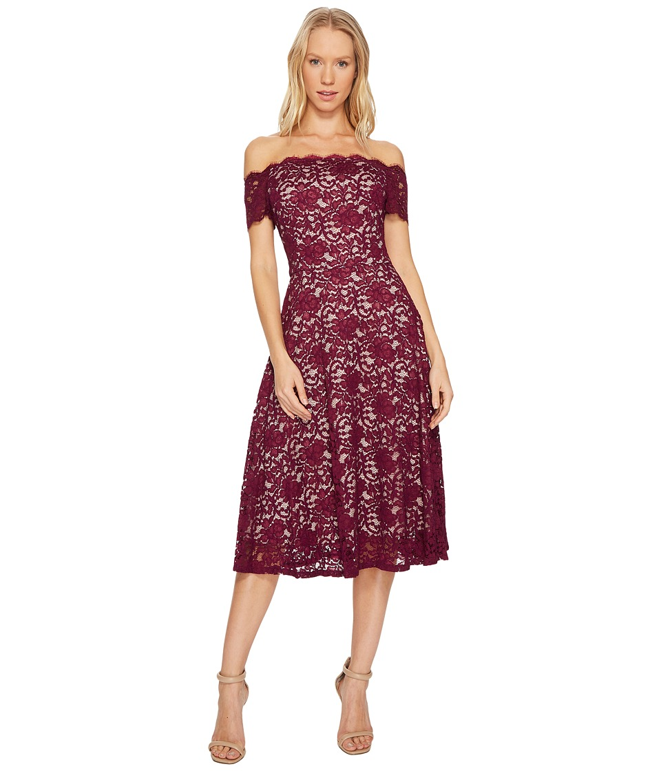 Adrianna Papell Lace Midi Fit and Flare Dress (Dark Magenta) Women