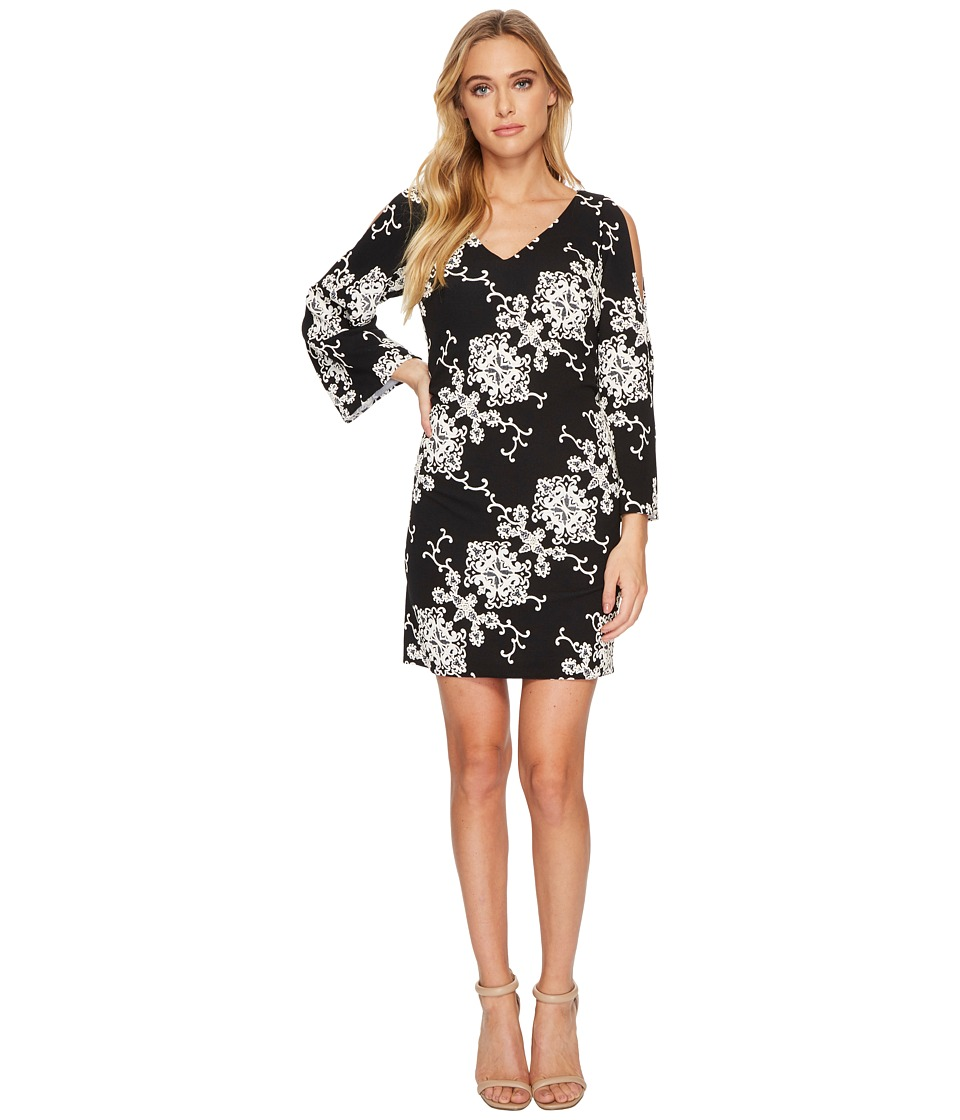 Adrianna Papell Cold Shoulder Shift Dress (Black/Ivory) Women