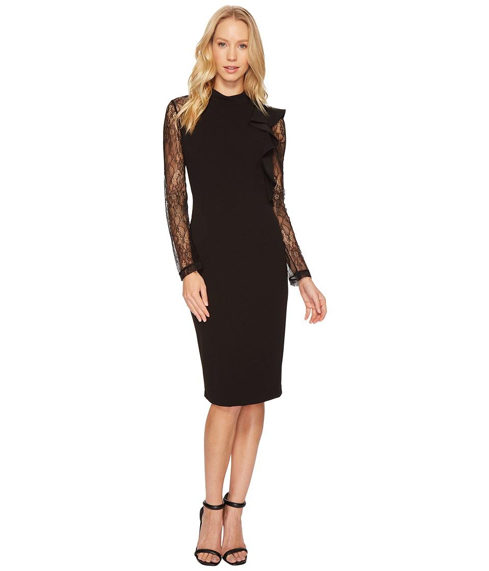 Adrianna Papell Mock Neck Sheath Lace Dress (Black) Women