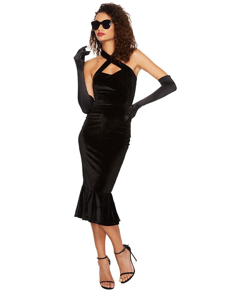 Unique Vintage Cross Halter Nicolette Wiggle Dress (Black) Women