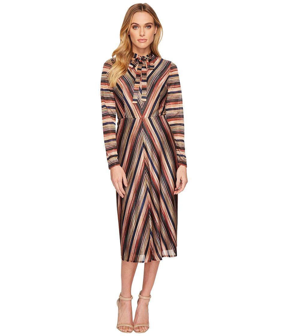 London Times Long Sleeve Tie Neck Space Dye Dress (Brown Multi) Women