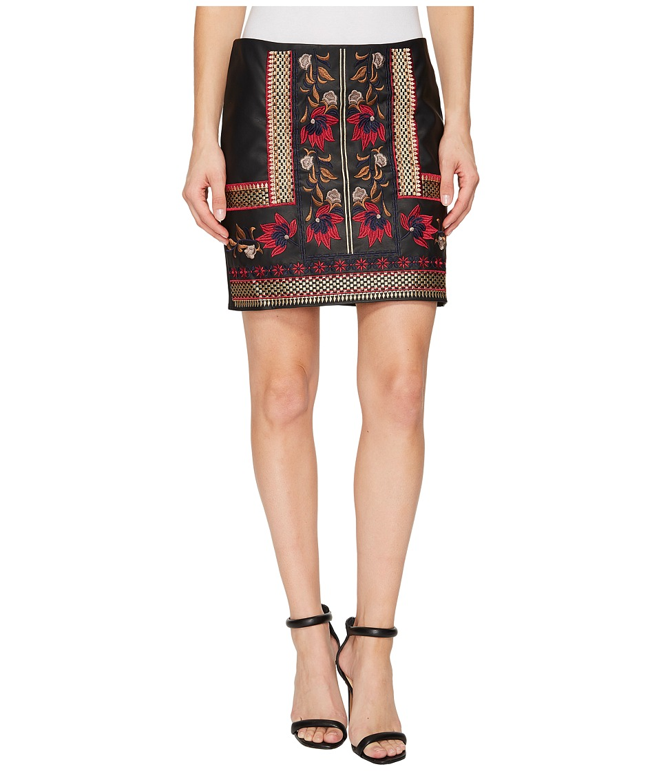 ROMEO & JULIET COUTURE Embroidered Faux Leather Skirt (Black Multi) Women