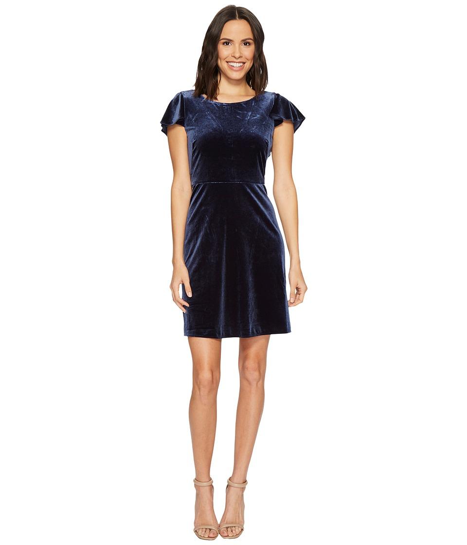 London Times Velvet Flutter Sleeve Full Skirt Dress (Navy) Women