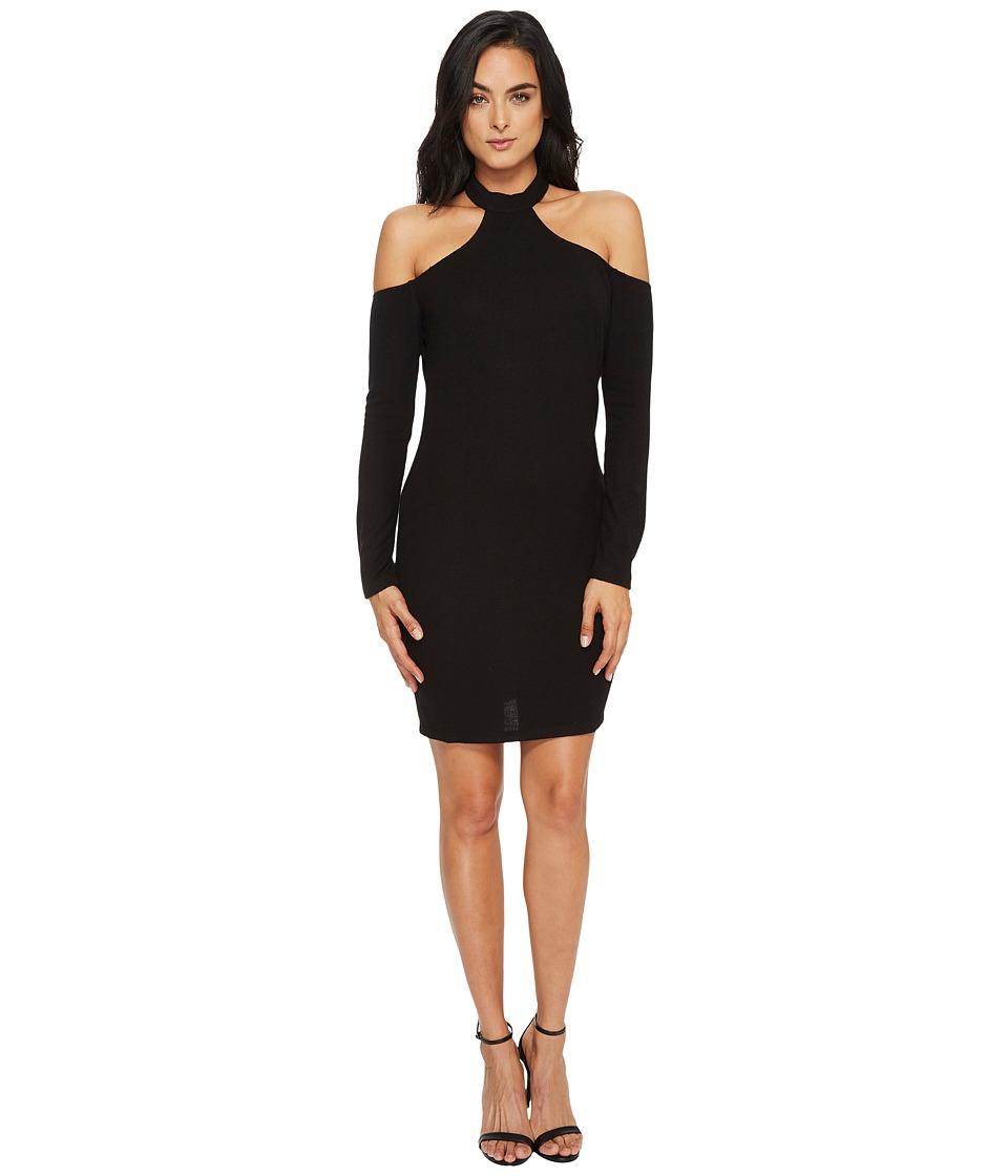 CeCe Aria Halter Sweater Knit Dress (Rich Black) Women