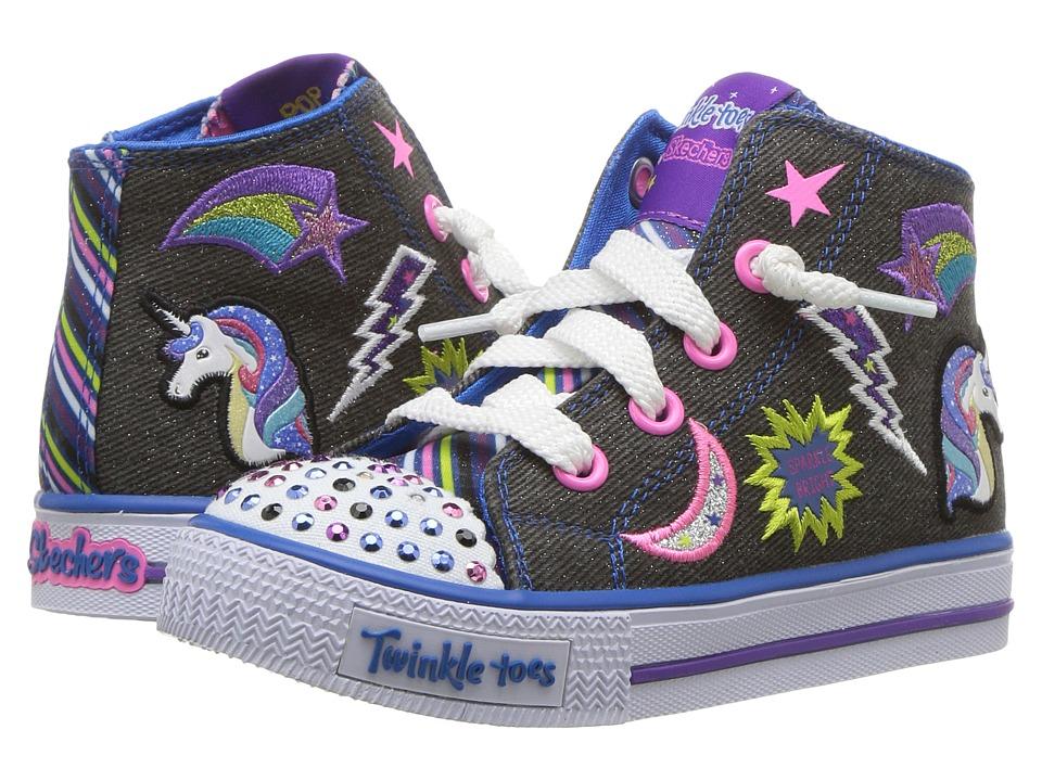 SKECHERS KIDS - Shuffles-Twist N Turn (Toddler) (Black/Multi) Girl's Shoes