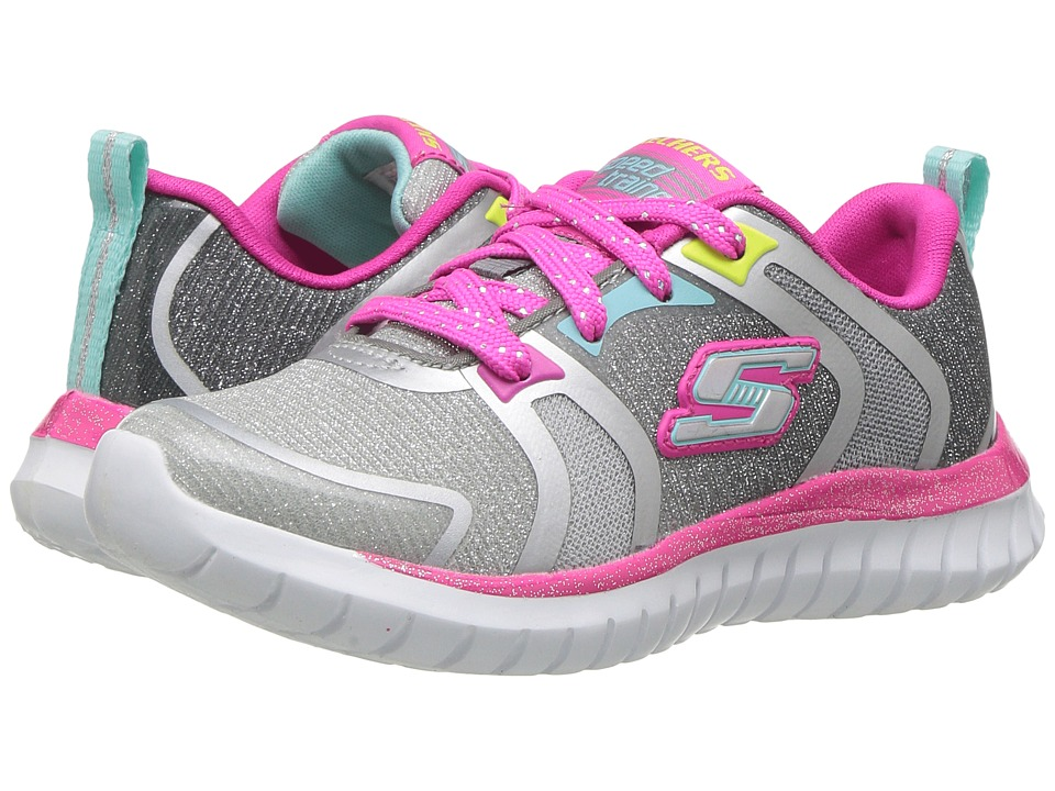 SKECHERS KIDS Speed Trainer (Little Kid/Big Kid) (Grey Multi) Girls Shoes