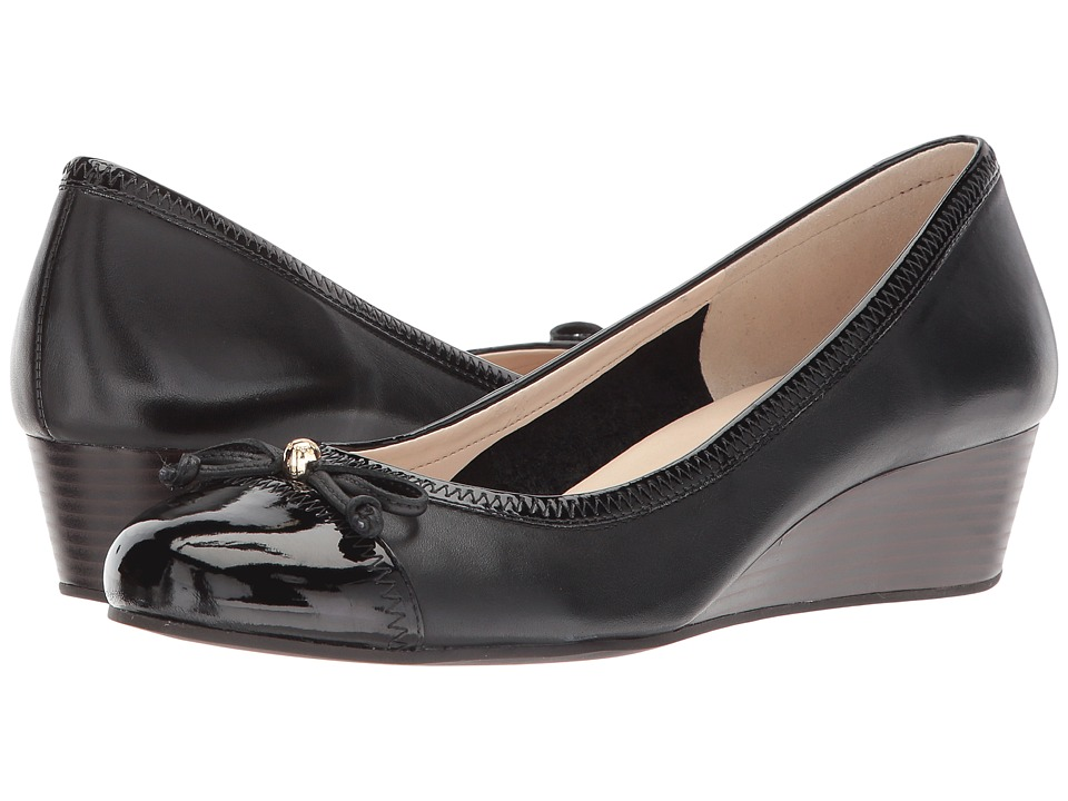 Cole Haan Elsie Cap Toe Lace Wedge 40mm II (Black Leather/Patent) Women
