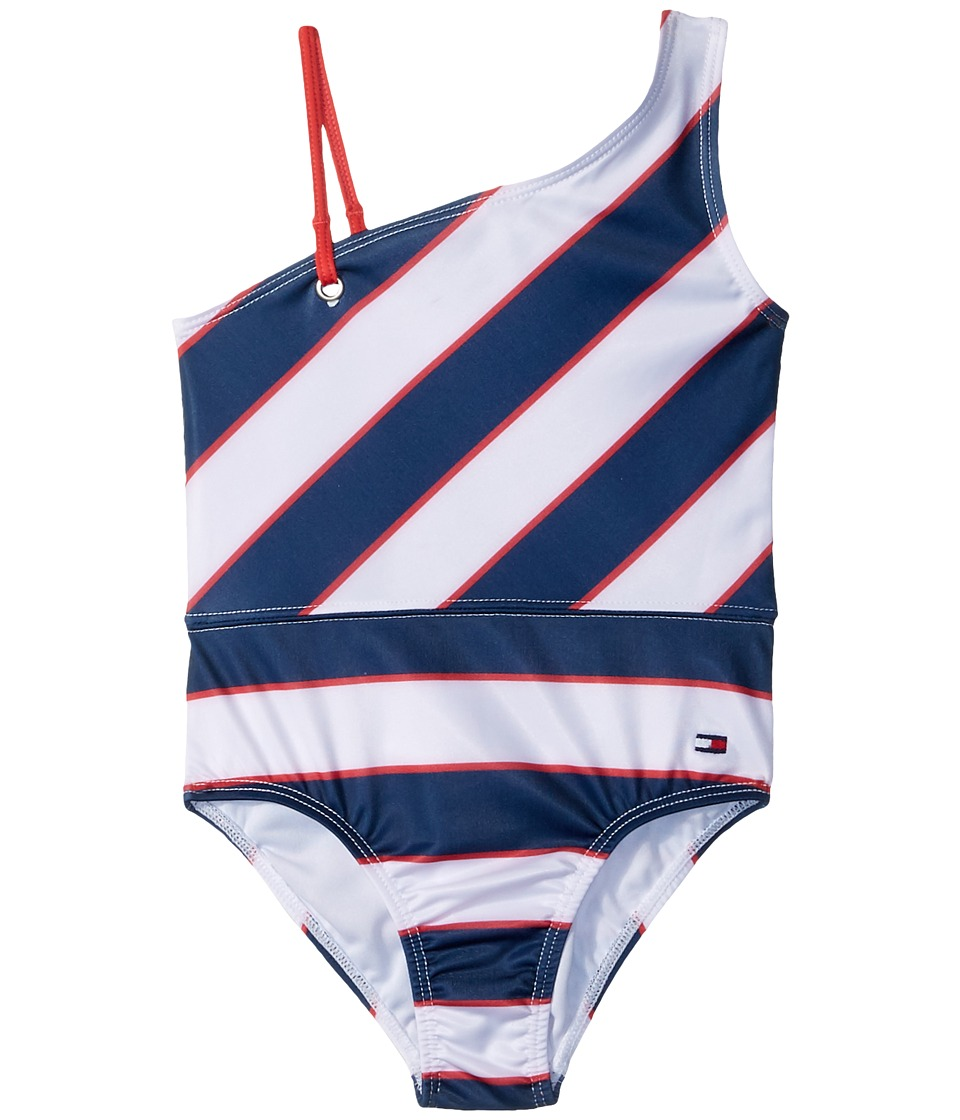Tommy Hilfiger Kids Rugby Stripe One-Piece Swimsuit (Toddler) (Flag Blue) Girl