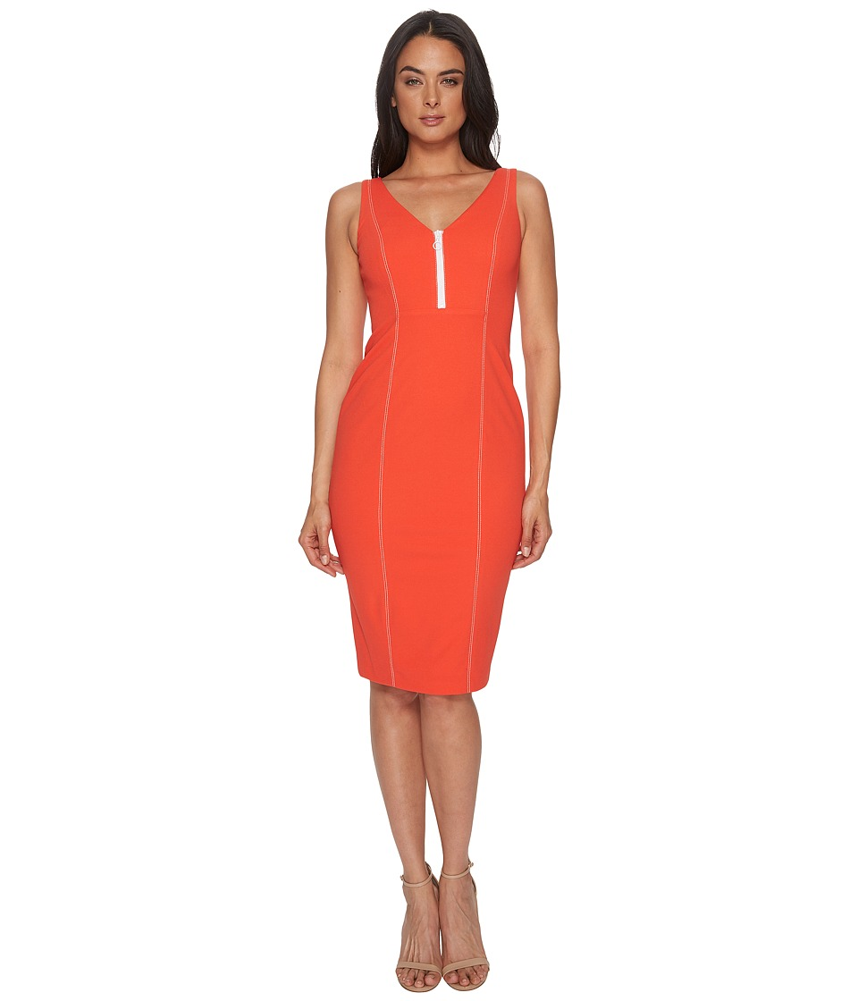 Donna Morgan Sleeveless Crepe V-Neck Dress with Front Zipper (Scarlet Red) Women