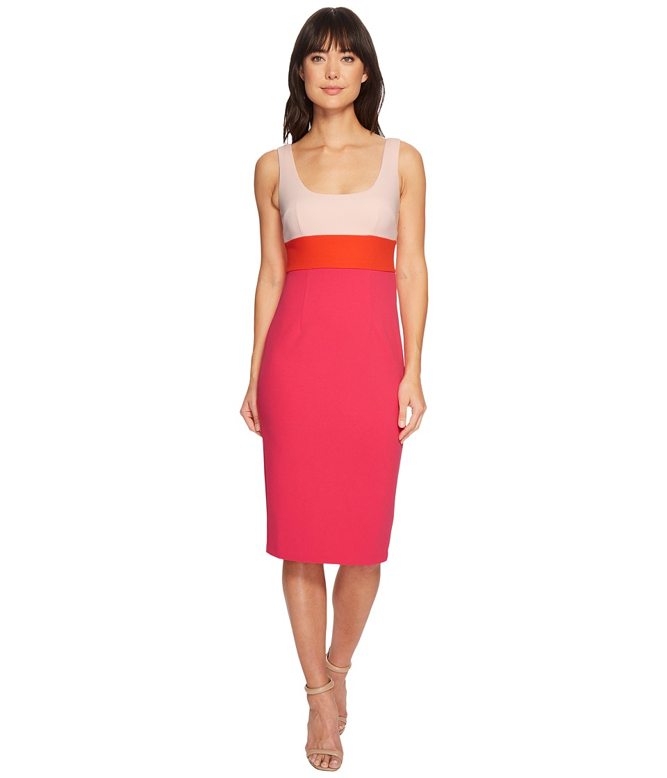 Donna Morgan Sleeveless Scoop Neck Stretch Crepe Bodycon Midi Dress (Blush Pink/Scarlet Red/Shocking Pink) Women