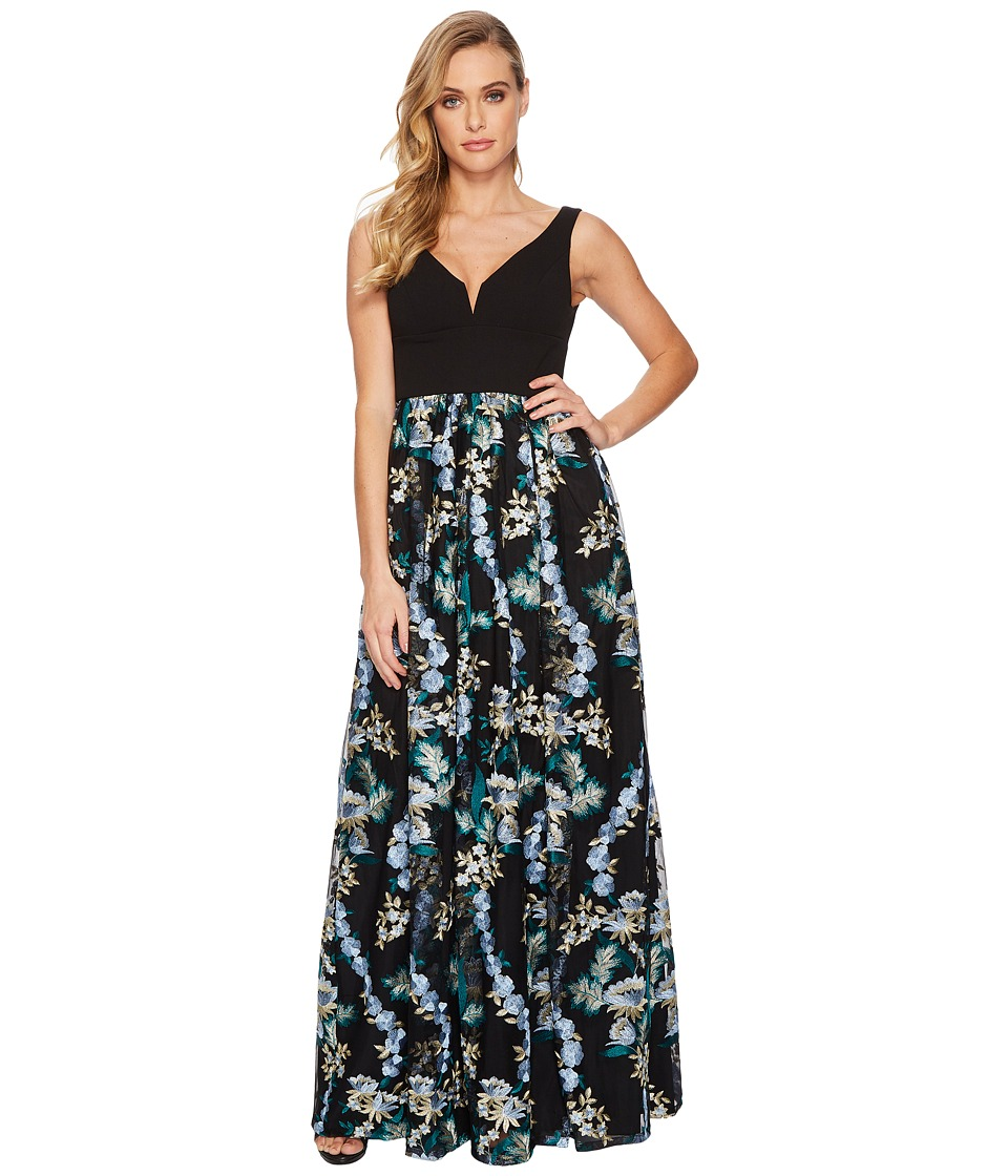 Adrianna Papell Embroidered Tulle Ball Gown with Solid Stretch Top (Blue Multi) Women
